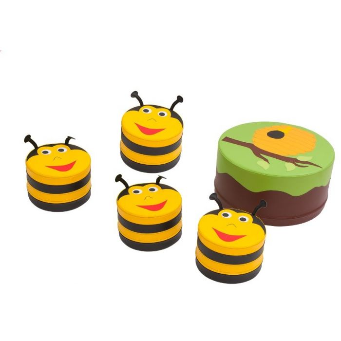 Tree Foam Table & Bumblebee Pouf Set by NOVUM, 4640322