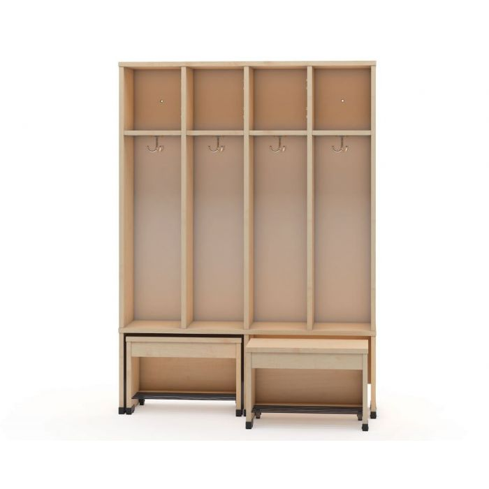 4-Cubby Cloakroom w/2 Movable Seats by NOVUM, 6512478EX & 6512451EX & 6512479EX