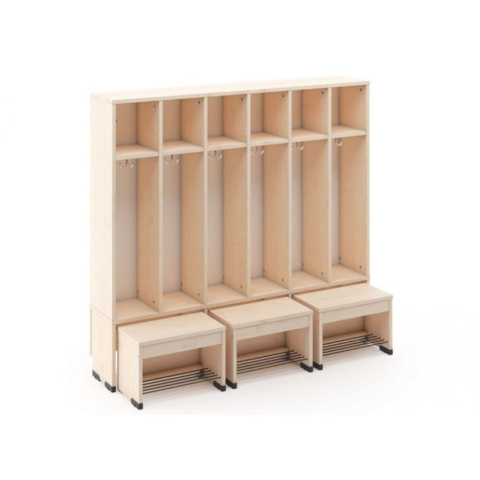 6-Cubby Cloakroom w/3 Movable Seats by NOVUM, 6512480EX & 6512452EX & 6512481EX