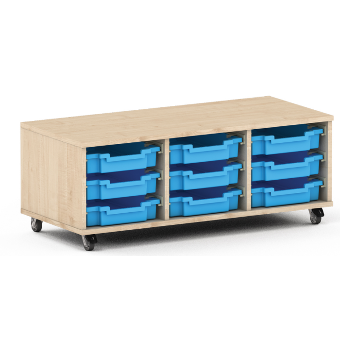 Premium Classroom Cabinet - Low 3-Column on Wheels by NOVUM