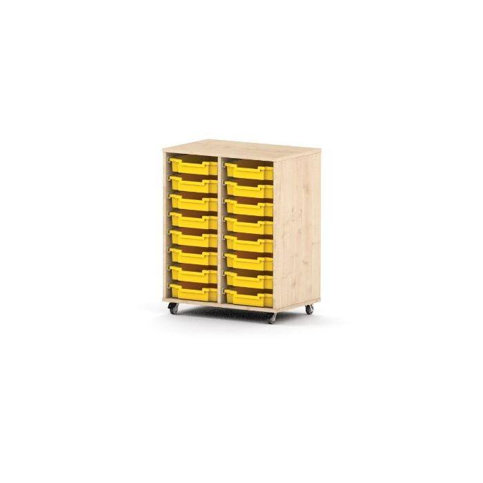Premium Classroom Cabinet - Medium 2-Column on Wheels by NOVUM