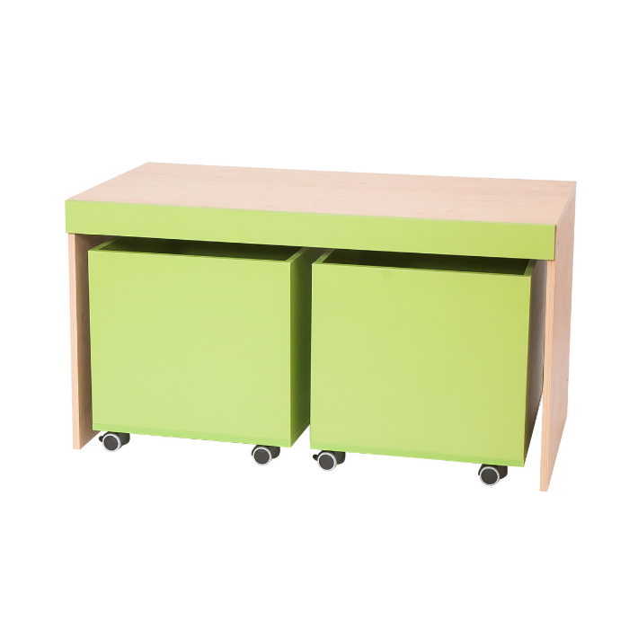 Bench w/Rolling Bins Partition by NOVUM, 6521113