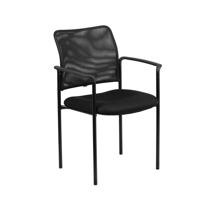 Playscapes Black Mesh Stackable Steel Side Chair