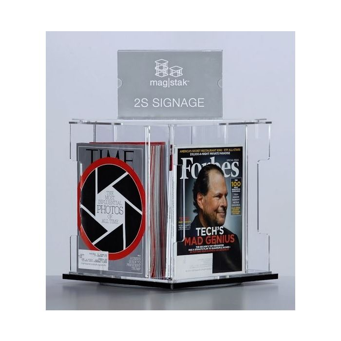 3branch magstak™ Magazine Counter Display w/2-Sided Sign, GR03YCD2