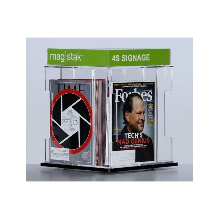 3branch magstak™ Magazine Counter Display w/4-Sided Sign, GR03YCD4